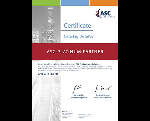 ASC Ostertag DeTeWe Partner Zertifikat